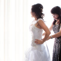 Mother and daughter on wedding day.